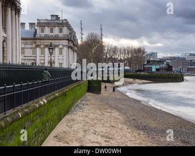 Urban Landscape - Old Royal Naval College Buildings and Thames river riverbed at low tide Greenwich, London, UK - Stock Photo