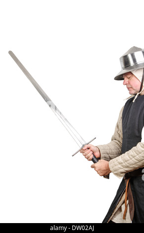 Medieval soldier with sword - Stock Photo