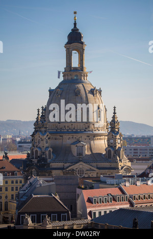 Dresden Frauenkirche church in the morning light, UNESCO World Heritage Site, historic centre, Dresden, Saxony, - Stock Photo