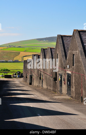 Warehouses of the Highland Park Distillery, whisky distilery, Kirkwall, Mainland, Orkney, Scotland, United Kingdom - Stock Photo