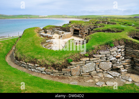 Excavation site at the Neolithic settlement of Skara Brae, Mainland, Orkney, Scotland, United Kingdom - Stock Photo