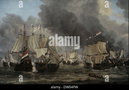 Reinier Nooms, called Zeeman (c. 1623-1664). Dutch painter. The Battle of Livorno, 1653-1664. Rijksmuseum. Amsterdam. - Stock Photo