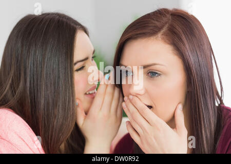 Two happy girls sharing secrets - Stock Photo