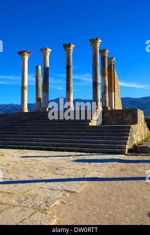 Excavated Roman City, Volubilis, Morocco, North Africa - Stock Photo