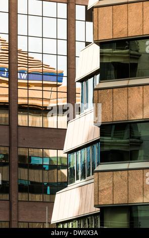 Buildings along Colmore Row, Birmingham, England. Wesleyan building reflected. - Stock Photo