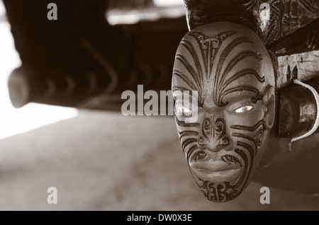 Maori hand carving decorations on the 35 metre Maori Waka (war canoe) in Waitangi, Northland New Zealand (NZ). - Stock Photo