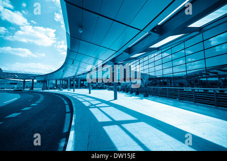 modern airport terminal in shanghai - Stock Photo