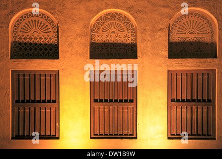 United Arab Emirates, Dubai, Bastakia Quarter, windows, - Stock Photo