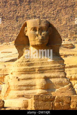 egypt sphinx and pyramid in Giza - Stock Photo