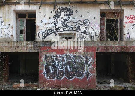 Milovice, Czech Republic. 25th February 2014. An abandoned building covered with graffiti in the area of the Soviet - Stock Photo