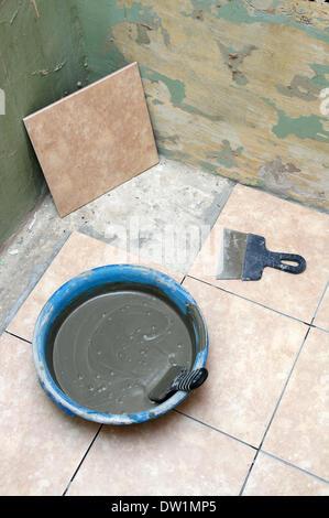 ceramics brick laying on floor - Stock Photo