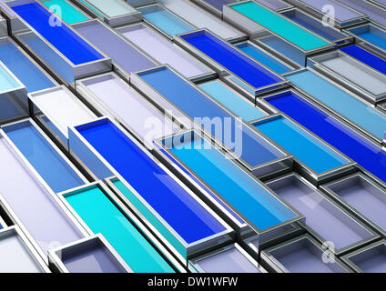 fine image 3d of chrome tank with blue paint - Stock Photo