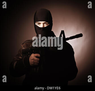 terrorist portrait - Stock Photo