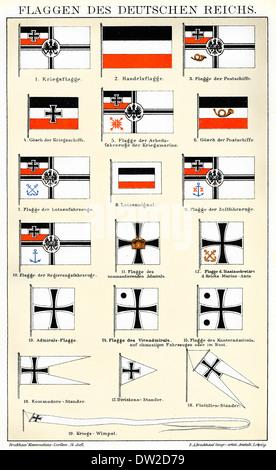 Historic illustration of flags of German Empire, 19th century, - Stock Photo
