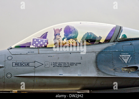 US Air Force Lt. Col. Scott Walker, an F-16 Fighting Falcon aircraft pilot prepares to take off from Bagram Airfield - Stock Photo