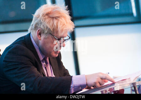 City Hall, London, February 26th 2014. London Mayor Boris Johnson fields questions relating to the Barclays-sponsored - Stock Photo