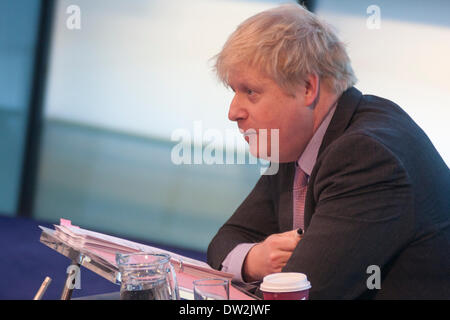 City Hall, London, February 26th 2014. London Mayour Boris Johnson fields questions relating to the Barclays-sponsored - Stock Photo