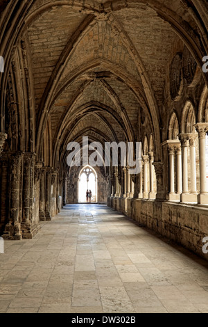 Imposing cloister in Sé Cathedral, Lisbon, Alfama district, Portugal, constructed in the 12th century. - Stock Photo