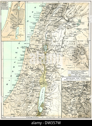 Historical map of Palestine, 1896 - Stock Photo