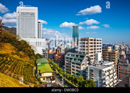 Kobe, Japan city skyline at Shin-kobe district. - Stock Photo