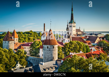 Tallinn, Estonia old city view from Toompea Hill. - Stock Photo