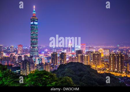 Taipei, Taiwan skyline at night. - Stock Photo