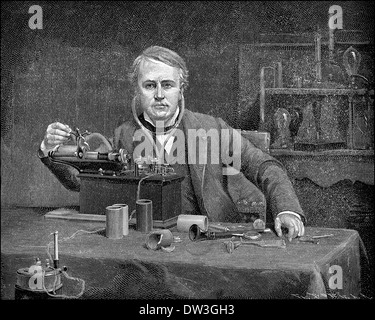 Thomas Alva Edison, 1847 - 1931, an American inventor and businessman, - Stock Photo
