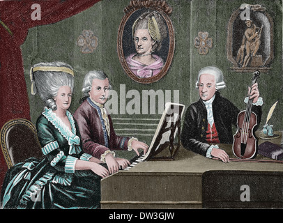 Wolfgang Amadeus Mozart (1756-1791). Composer of the Classical era. Mozart and his family. Colored engraving.
