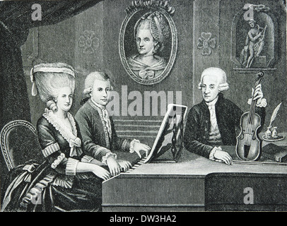 Wolfgang Amadeus Mozart (1756-1791). Composer of the Classical era. Mozart and his family. Engraving.