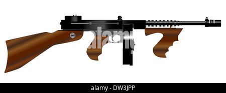 A Tommy gun as used by gangsters in the roaring twenties, isolated on white background. - Stock Photo