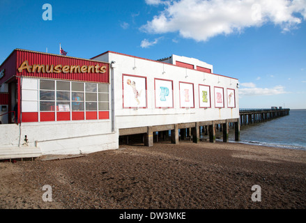 Amusement arcade on Felixstowe Pier, Suffolk, England - Stock Photo