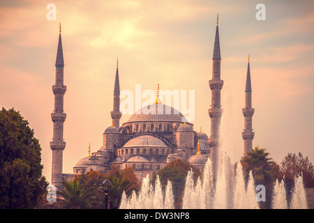 Blue mosque in Istanbul Turkey with water fountain in fore ground - Stock Photo