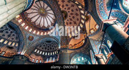 Domed ceiling of Blue Mosque in Istanbul Turkey - Stock Photo