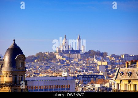 Distant View to Montmartre And Sacre Coeur, Paris, France, Western Europe. - Stock Photo