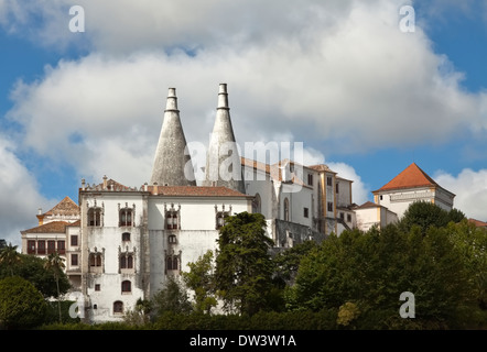View of Sintra National Palace, designated a World Heritage Site by UNESCO, near Lisbon, Portugal. - Stock Photo