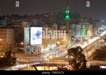 Amman city lights of the streets in the night - Stock Photo