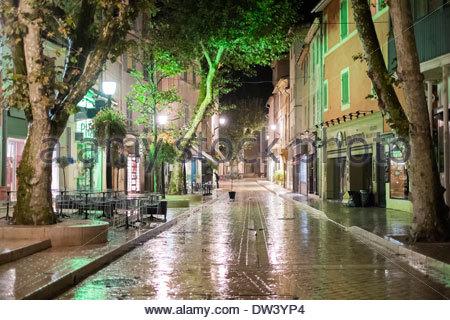Empty street on a rainy night, Cassis, Bouches-du-Rhône, Provence-Alpes-Côte d'Azur, France - Stock Photo