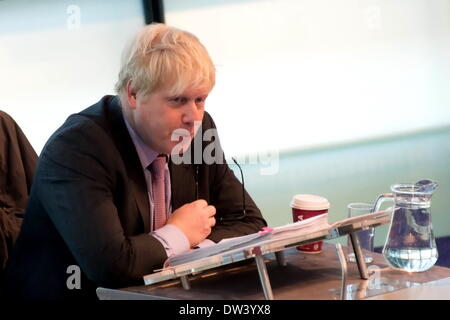 London, UK. 26th February 2014. Mayor Boris johnson fields questions during London Assembly Question Time Credit: - Stock Photo