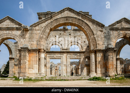 The Byzantine Church of Saint Simeon Stylites is a historical ruin located about 30 km  northwest of Aleppo, Syria. - Stock Photo