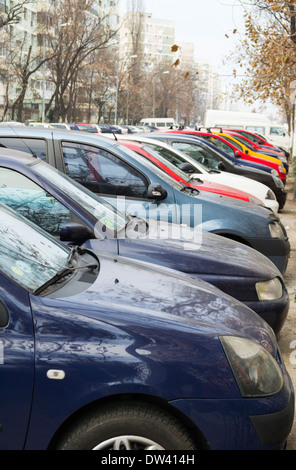Row of parked cars - Stock Photo