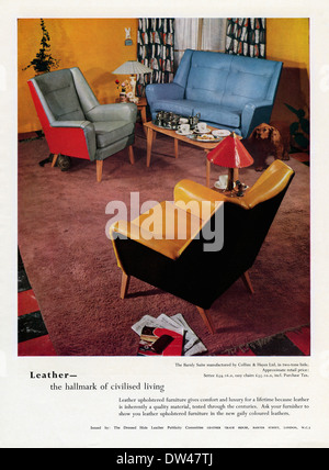 Old advert for leather-covered chairs and sofas. The advert appeared in a magazine in 1956 - Stock Photo