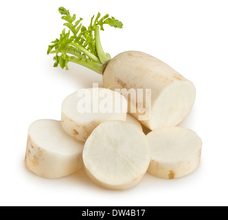 daikon isolated on white - Stock Photo