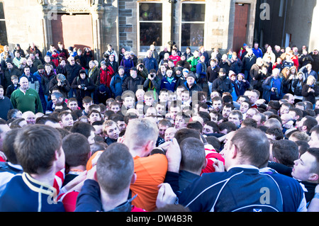 dh Ba game KIRKWALL ORKNEY Pack of Ba players scrum New Years day Ba - Stock Photo