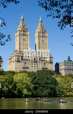 Central Park, New York City in Summer at The Lake with Central Park West Skyline and the Dakota Apartments. Central - Stock Photo