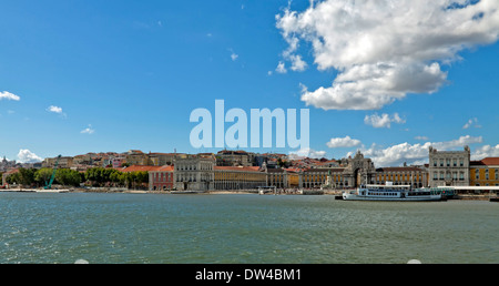 View from the river Tagus on the imposing architectural beauty of Praça do Comércio, Lisbon, Baixa, Portugal. - Stock Photo