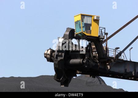 Bucket wheel excavator at a brown coal mine - Stock Photo