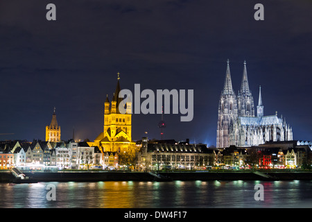 Riverside view of the Town Hall, church of Great St. Martin and Cologne Cathedral , Germany - Stock Photo
