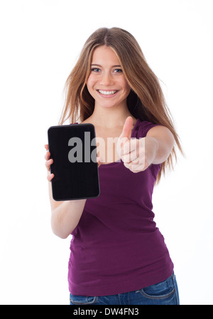 Cute woman showing an electronic tablet and having a positive gesture - Stock Photo