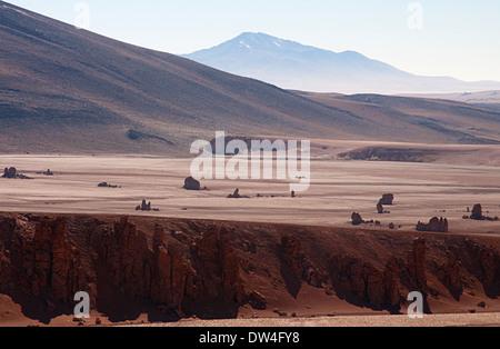 View of the Salar de Tara, San Pedro de Atacama, Antofagasta Region, Chile, South America - Stock Photo
