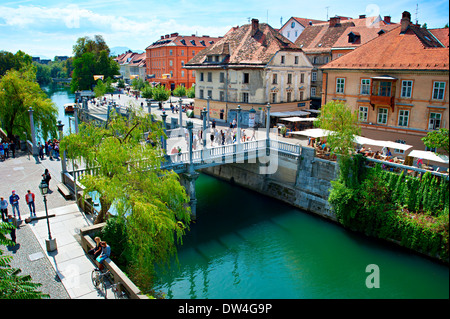 Old town embankment in Ljubljana. This year the city of Ljubljana is competing for the title of European Green Capital - Stock Photo